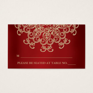 De rode en Gouden Indische Geïnspireerde Zettende Visitekaartjes