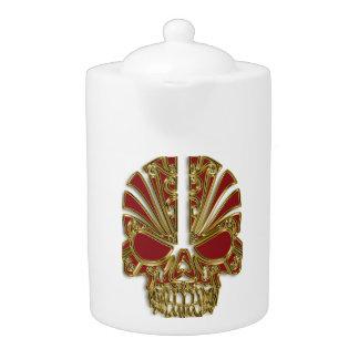 De rode en gouden schedel van de suikerschedel