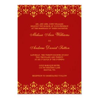 De rode en Gouden Vintage Barokke Uitnodiging van