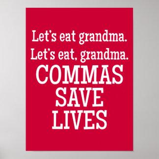 De rode en Witte Komma's redden Grappige het Leven Poster