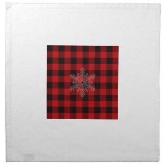 De rode en zwarte plaid van het land - sneeuwvlok katoenen servet