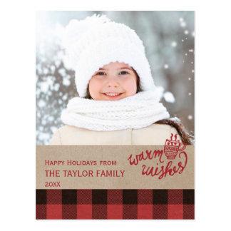 De rode Foto van Kerstmis van de Plaid van Buffels Briefkaart
