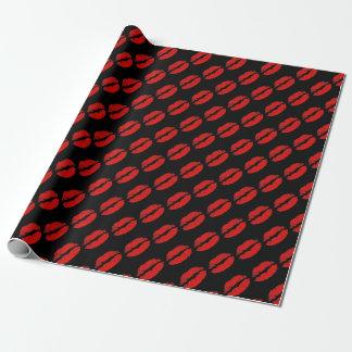 De rode Gelukkige Valentijnsdag van Lippen Inpakpapier