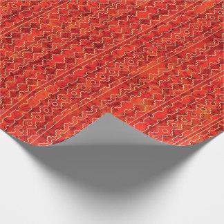 De rode Geometrische Strepen van Schaduwen Cadeaupapier