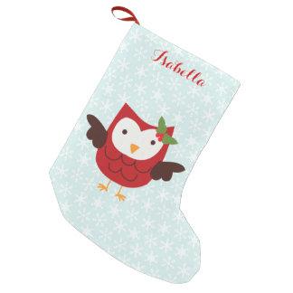 De rode Gepersonaliseerde Uil van de Vakantie Kleine Kerstsok
