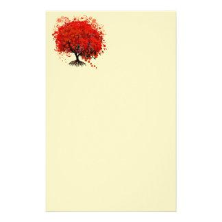 De rode Gewervelde Boom van de Bloem van het Hart Briefpapier