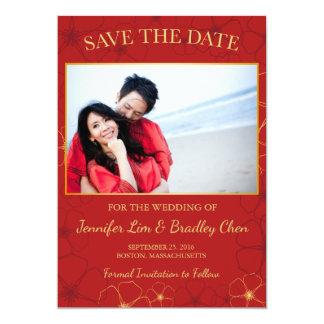 De rode & Gouden Bloesems van de Kers bewaren het 12,7x17,8 Uitnodiging Kaart