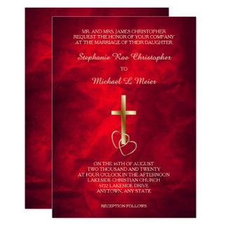 De rode Gouden Christelijke DwarsUitnodiging van Kaart