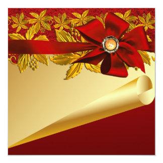De rode Gouden Partij van Kerstmis van Poinsettia Kaart