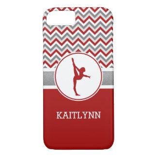 De rode/Grijze Gymnastiek van de Strepen van de iPhone 7 Hoesje