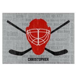 De rode Helm van het Ijshockey en de Typografie Snijplank