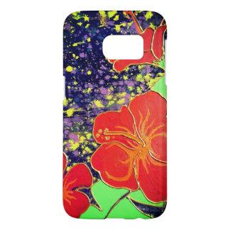 De Rode Hibiscus van LineA Samsung Galaxy S7 Hoesje