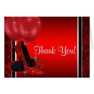 De rode Hoge Schoen van de Hiel dankt u Briefkaarten 0