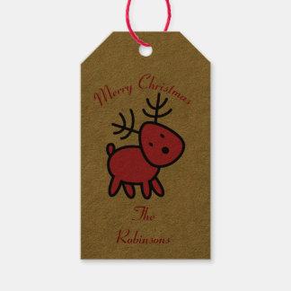 De rode Illustratie van het Rendier van Kerstmis Cadeaulabel