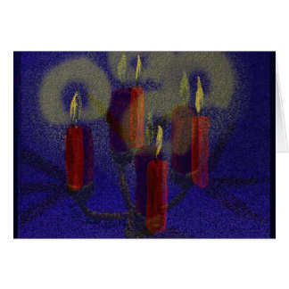 De rode kaarsen van het wenskaart & blauwe