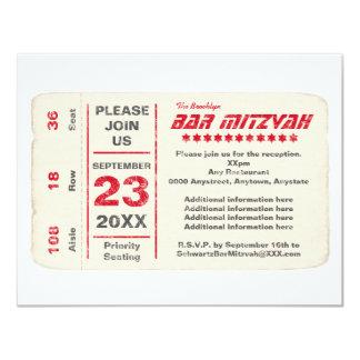 De Rode Kaart van de Ontvangst van de Bar mitswa 10,8x13,9 Uitnodiging Kaart