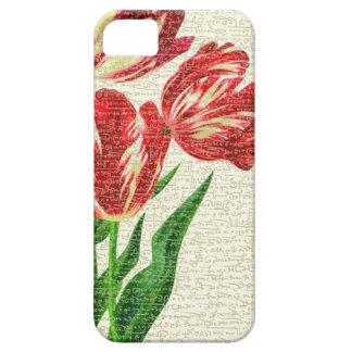 De rode Kalligrafie van Tulpen Barely There iPhone 5 Hoesje