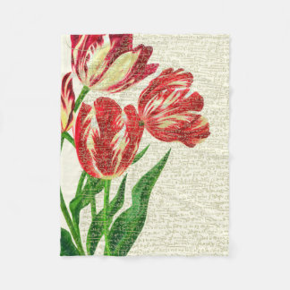 De rode Kalligrafie van Tulpen Fleece Deken