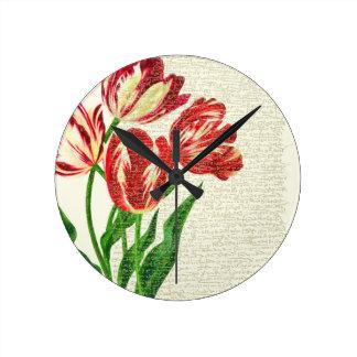 De rode Kalligrafie van Tulpen Ronde Klok