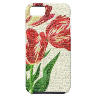 De rode Kalligrafie van Tulpen Tough iPhone 5 Hoesje