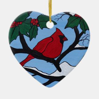 De Rode Kardinaal van Kerstmis Keramisch Hart Ornament