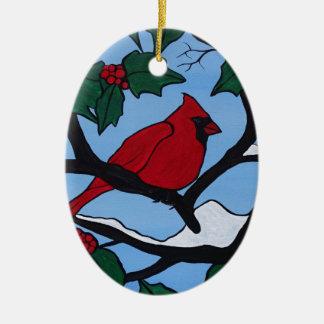 De Rode Kardinaal van Kerstmis Keramisch Ovaal Ornament