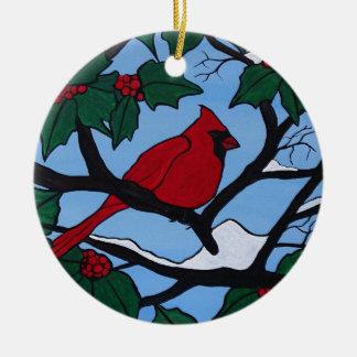 De Rode Kardinaal van Kerstmis Rond Keramisch Ornament