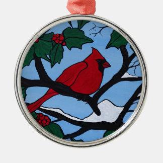 De Rode Kardinaal van Kerstmis Zilverkleurig Rond Ornament