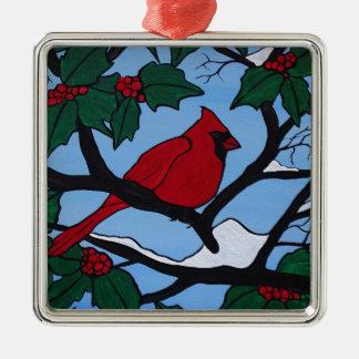 De Rode Kardinaal van Kerstmis Zilverkleurig Vierkant Ornament