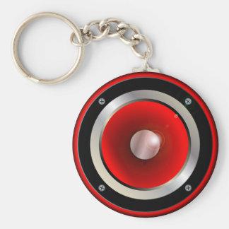 De rode Kegel van de Spreker Basic Ronde Button Sleutelhanger