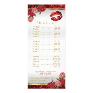 De rode Lip van Rozen schittert Prijslijst 10,2x 22,9 Cm Reclamekaart