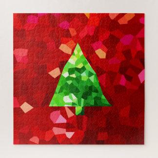 De rode Moderne Kerstboom van de Vakantie van het Puzzel