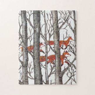De rode Moeilijke Puzzel van het Bos van de Vos Legpuzzel
