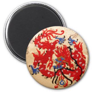 De Rode n Gouden Draken van NOVINO Koelkast Magneten