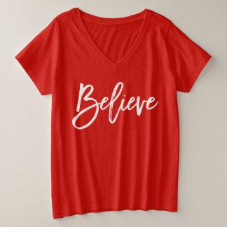 De rode Overhemden van Kerstmis voor Vrouwen plus Grote Maat V-hals T-shirt