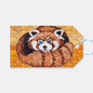 De rode Panda draagt op Oranje Kubisme Cadeaulabel