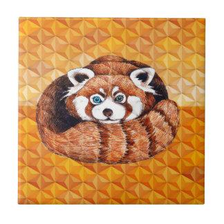De rode Panda draagt op Oranje Kubisme Tegeltje