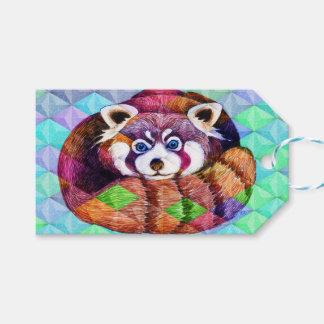 De rode Panda draagt op turkoois kubisme Cadeaulabel