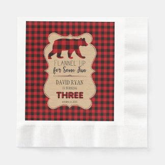 De rode Plaid van Buffels Verjaardag DRIE Douane Papieren Servetten