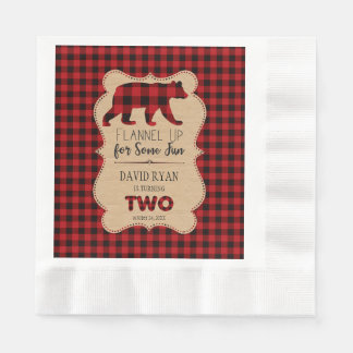 De rode Plaid van Buffels Verjaardag TWEE Douane Papieren Servetten