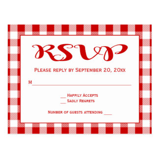De rode Plaid van de Gingang RSVP controleert Briefkaart
