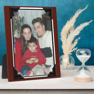 De rode plaque van de leder-blikfoto foto platen