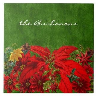 De Rode Poinsettia van Kerstmis met Groen Tegeltje Vierkant Large
