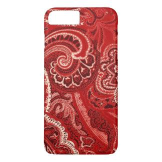 De rode Retro Bandana/Bandana van Paisley iPhone 8/7 Plus Hoesje