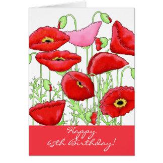 De rode Roze Gelukkige Verjaardag van de Bloemen Wenskaart
