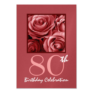 de Rode Rozen van de 80ste van de Verjaardag 12,7x17,8 Uitnodiging Kaart