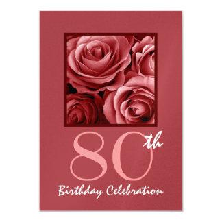 de Rode Rozen van de 80ste van de Verjaardag Kaart