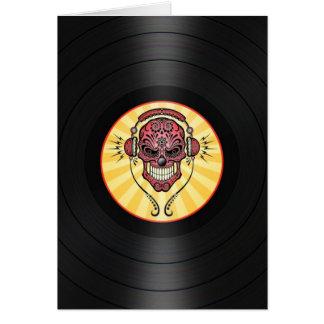 De rode Schedel van de Suiker van DJ op Vinyl Wenskaart