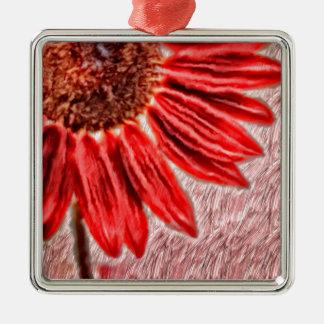De rode Schets van de Zonnebloem Zilverkleurig Vierkant Ornament