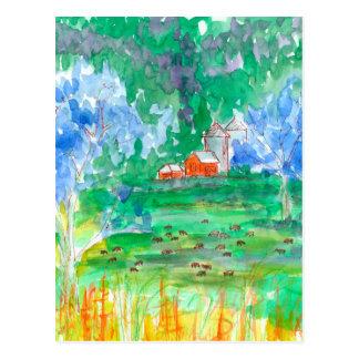 De Rode Schuur van de Koeien van het Landschap van Briefkaart